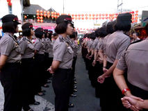 Police women. Police woman briefing before serving in the city of Solo, Central Java, Indonesia stock photography