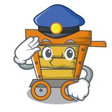 Police wooden trolley character cartoon. Vector illustration royalty free illustration