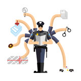 Police work. Officer on duty. Detention of criminals. Handcuffs. And donut. Cop investigation. Policeman fined Stock Photos