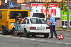 Police work at the scene of a traffic accident. Royalty Free Stock Photos