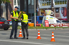 Police work at the scene of a traffic accident. Stock Image