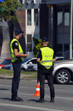 Police work at the scene of a traffic accident. Royalty Free Stock Photo