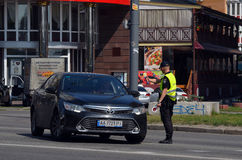 Police work at the scene of a traffic accident. Stock Photo