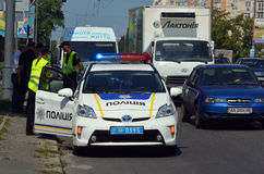 Police work at the scene of a traffic accident. Stock Images