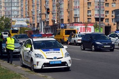 Police work at the scene of a traffic accident. Royalty Free Stock Photography