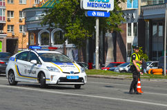 Police work at the scene of a traffic accident. Royalty Free Stock Images