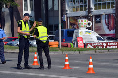 Police work at the scene of a traffic accident. Stock Photos