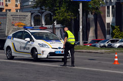 Police work at the scene of a traffic accident. Stock Photography