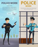 Police Work Vertical Banners royalty free illustration