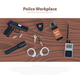 Police workspace icons, policeman working cabinet with equipment on brown wood table. Vector cop symbols in flat. Royalty Free Stock Image