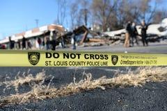 Police Yellow Tape in Ferguson Stock Photo