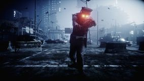 Police zombie in dark destroyed city. Fog dramatic night. Zombie apocalypse concept. 3d rendering. royalty free illustration