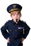 Policegirl que sopla su silbido Imagen de archivo
