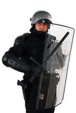 Policeman. With full anti riot equipment isolated on white stock photos