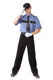 Policeman. Isolated on a white background stock photo