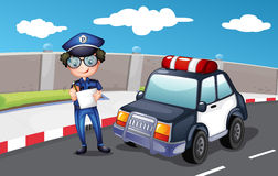 A policeman along the road. Illustration of a policeman along the road Royalty Free Stock Photos