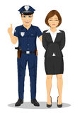 Policeman arresting businesswoman. White collar criminal  white background Royalty Free Stock Image