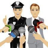 Policeman arresting white collar corrupt businessman while journalist interviewing him Stock Photos