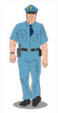 Policeman on the beat. Hand drawn art of a policeman on the beat vector illustration