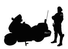 Policeman biker silhouette. Policeman biker beside his bike (Silhouette stock photo