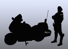 Policeman biker silhouette. Policeman biker beside his bike (Silhouette and background Royalty Free Stock Images