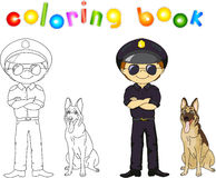 Policeman in black uniform and cap with guard dog. Coloring book Stock Photography