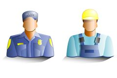 Policeman and builder icons Stock Photos
