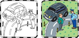 Policeman and car driver. Coloring book. Coloring picture of policeman stopped the car, salutes and talking with the driver Royalty Free Stock Photo