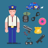 Policeman character design with policeman icons set. Cop elements for info graphic. Vector illustration.  Stock Photos
