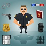 Policeman character with icons Royalty Free Stock Image