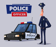 Policeman character and police car. Cartoon vector illustration Royalty Free Stock Images
