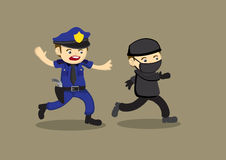 Policeman Chase Thief Vector Cartoon Illustration Stock Photo