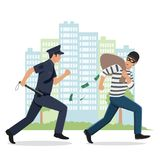 Illustration of a Policeman Chasing a Thief with Stolen Bag. Policeman chasing a robber with mask Stock Photography
