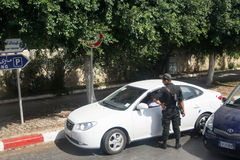 Policeman checking driver in Tunis Royalty Free Stock Images