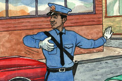 Policeman. Color illustration of a policeman directing traffic Royalty Free Stock Photo