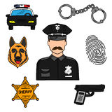 Policeman colored sketch for professions design Stock Photo