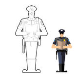 Policeman coloring book. Police officer at work Stock Photography