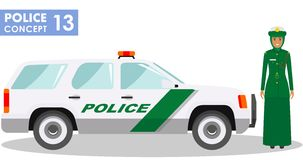 Policeman concept. Detailed illustration of arabian muslim policewoman officer and police car in flat style on white Stock Image