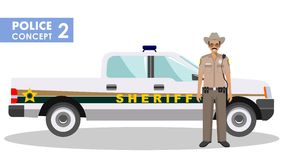 Policeman concept. Detailed illustration of sheriff and police car in flat style on white background. Vector. Royalty Free Stock Photos