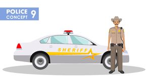 Policeman concept. Detailed illustration of sheriff and police car in flat style on white background. Vector Royalty Free Stock Images