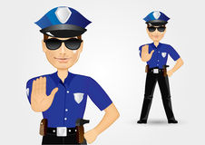 Policeman cop with sunglasses showing stop gesture Royalty Free Stock Photography
