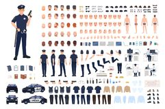 Policeman creation set or DIY kit. Collection of male police officer body parts, facial gestures, hairstyles, uniform. Clothing and accessories isolated on stock illustration