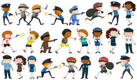 Policeman and criminal characters. Illustration Stock Image
