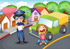 The policeman and the crying driver Royalty Free Stock Photography