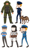 Policeman in different uniforms. Illustration Stock Photos