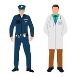 Policeman and Doctor Cartoon icon. Service 911. Policeman and Doctor flat icon. Service 911. Cartoon Vector illustration Stock Images