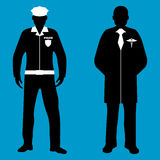 Policeman and Doctor Silhouette icon. Service 911. Policeman and Doctor flat icon. Service 911. Silhouette Vector illustration Stock Photography