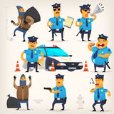 Policeman doing their job. Set of colorful isolated vector policeman at work Royalty Free Stock Images