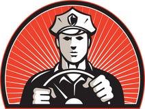 Policeman Driver Driving Steering Wheel Royalty Free Stock Image