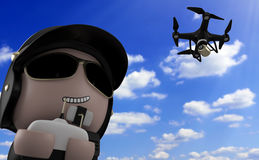 Policeman with drone. Royalty Free Stock Photography
